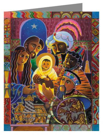 Custom Text Note Card - Light of the World Nativity by M. McGrath