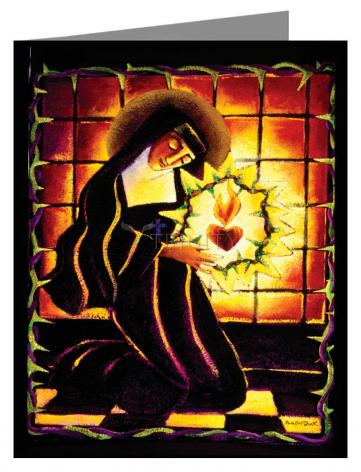 Custom Text Note Card - St. Margaret Mary Alacoque by M. McGrath