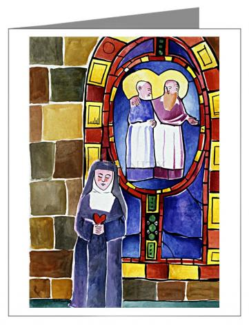 Custom Text Note Card - St. Margaret Mary Alacoque at Window by M. McGrath