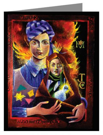 Custom Text Note Card - Madonna of the Holocaust by M. McGrath