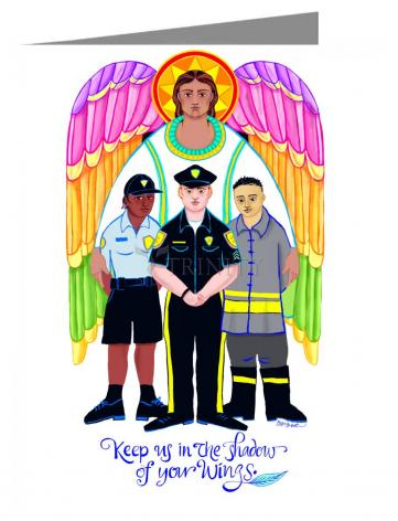 Custom Text Note Card - St. Michael Archangel: Patron of Police and First Responders by M. McGrath