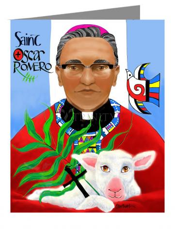 Custom Text Note Card - St. Oscar Romero by M. McGrath