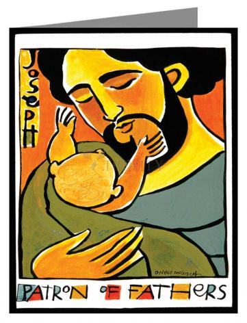 Custom Text Note Card - St. Joseph, Patron of Fathers by M. McGrath