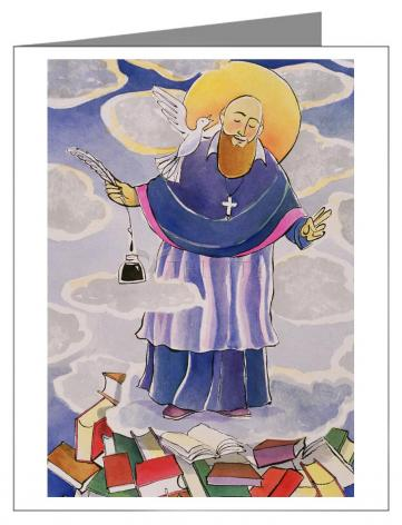 Custom Text Note Card - St. Francis de Sales, Patron of Writers by M. McGrath