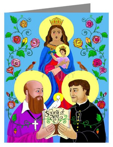 Custom Text Note Card - Sts. Francis de Sales and John Bosco by M. McGrath