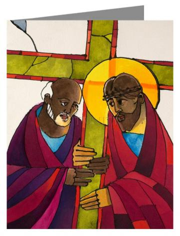 Custom Text Note Card - Stations of the Cross - 5 Simon Helps Jesus Carry the Cross by M. McGrath