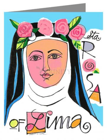 Custom Text Note Card - St. Rose of Lima by M. McGrath