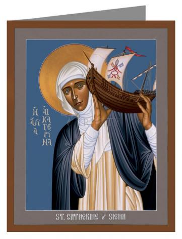 Custom Text Note Card - St. Catherine of Siena by R. Lentz