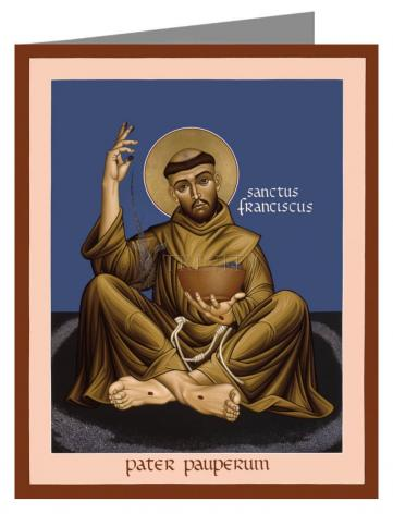 Custom Text Note Card - St. Francis, Father of the Poor by R. Lentz