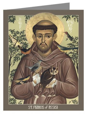 Custom Text Note Card - St. Francis of Assisi by R. Lentz