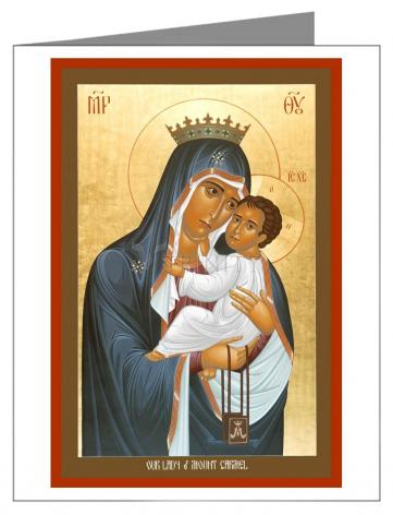 Custom Text Note Card - Our Lady of Mt. Carmel by R. Lentz