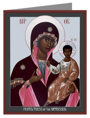 Custom Text Note Card - Mother of God: Protectress of the Oppressed by R. Lentz