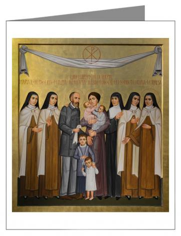 Custom Text Note Card - Sts. Louis and Zélie Martin with St. Thérèse of Lisieux and Siblings by P. Orlando