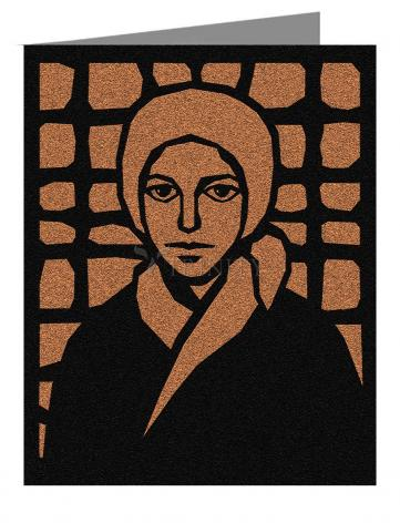 Note Card - St. Bernadette of Lourdes - Brown Glass by D. Paulos