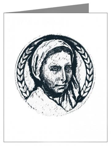 Note Card - St. Bernadette of Lourdes - Pen and Ink by D. Paulos