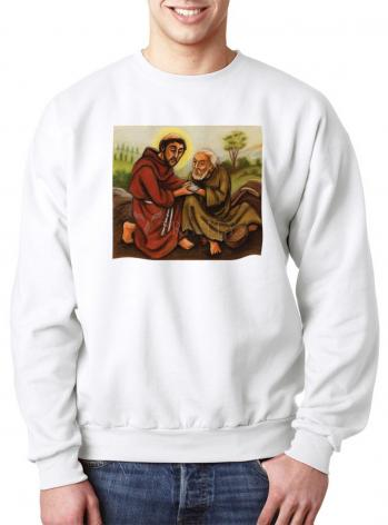 Sweatshirt - St. Francis and Lepers by J. Lonneman