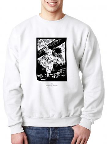 Sweatshirt - Traditional Stations of the Cross 03 - Jesus Falls the First Time by J. Lonneman