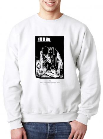 Sweatshirt - Scriptural Stations of the Cross 06 - Jesus is Scourged and Crowned With Thorns by J. Lonneman