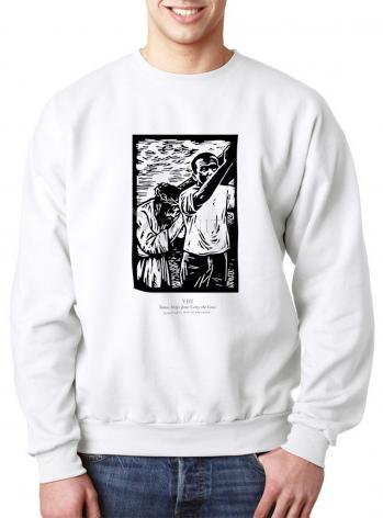 Sweatshirt - Scriptural Stations of the Cross 08 - Simon Helps Jesus Carry the Cross by J. Lonneman