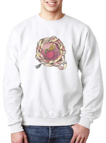 Sweatshirt - Sacred Heart and Crown of Thorns by M. McGrath
