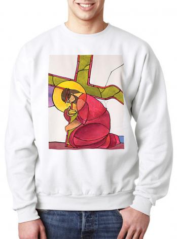 Sweatshirt - Stations of the Cross - 03 Jesus Falls the First Time by M. McGrath