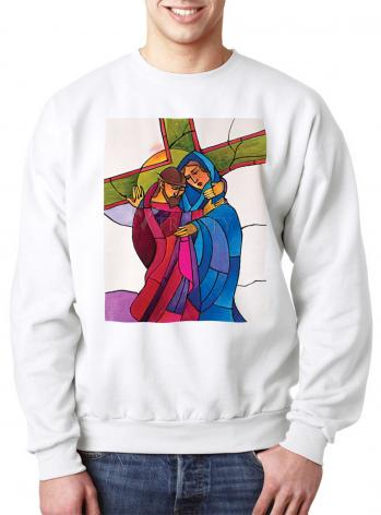 Sweatshirt - Stations of the Cross - 04 Jesus Meets His Sorrowful Mother by M. McGrath