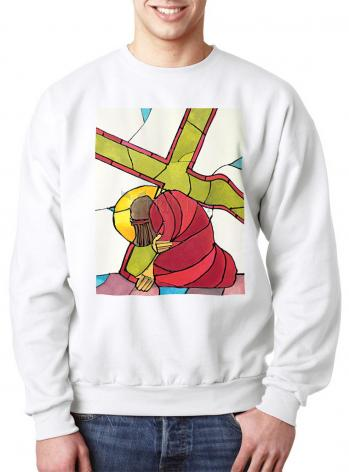 Sweatshirt - Stations of the Cross - 07 Jesus Falls a Second Time by M. McGrath