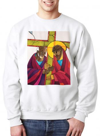 Sweatshirt - Stations of the Cross - 05 Simon Helps Jesus Carry the Cross by M. McGrath