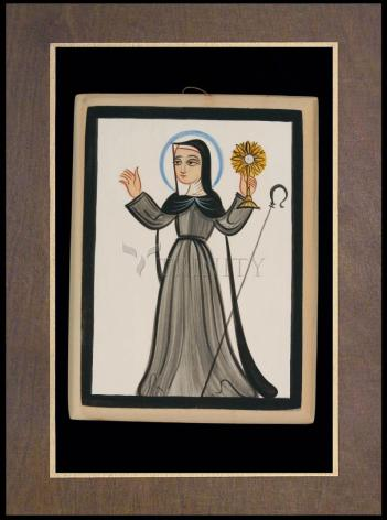 Wood Plaque Premium - St. Clare of Assisi by A. Olivas