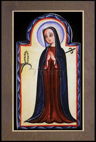 Wood Plaque Premium - Mater Dolorosa - Mother of Sorrows by A. Olivas