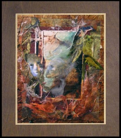 Wood Plaque Premium - Faces Amidst Tattered Shroud by B. Gilroy