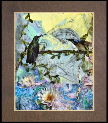 Wood Plaque Premium - Birds Singing Above White Heron by B. Gilroy