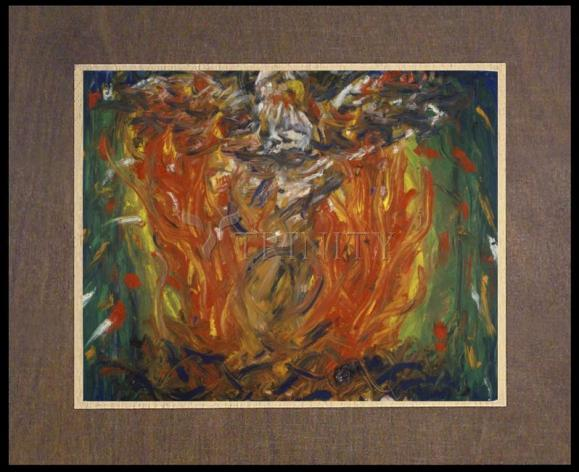 Wood Plaque Premium - Eagle in Fire That Does Not Burn by B. Gilroy