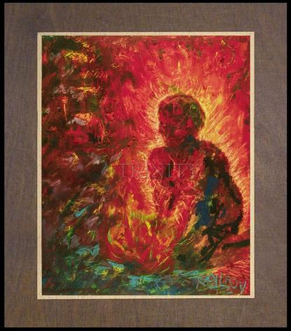 Wood Plaque Premium - Tending The Fire by B. Gilroy