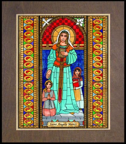 Wood Plaque Premium - St. Angela Merici by B. Nippert