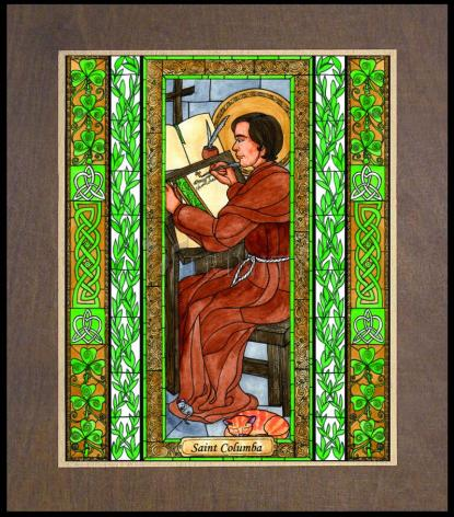 Wood Plaque Premium - St. Columba by B. Nippert