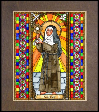 Wood Plaque Premium - St. Clare of Assisi by B. Nippert