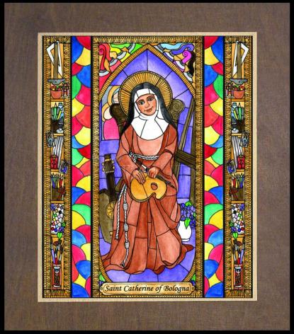 Wood Plaque Premium - St. Catherine of Bologna by B. Nippert