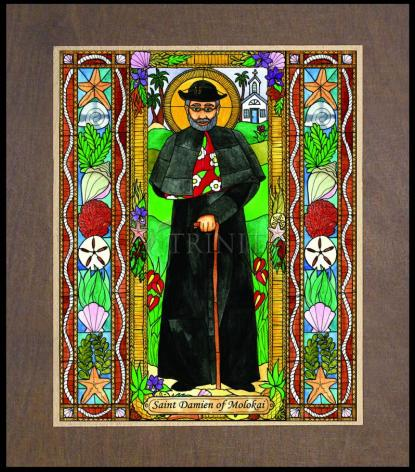 Wood Plaque Premium - St. Damien of Molokai by B. Nippert