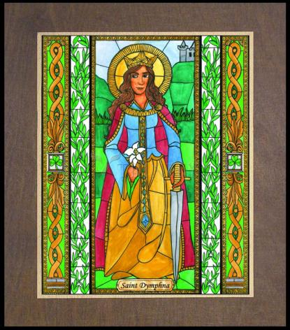 Wood Plaque Premium - St. Dymphna by B. Nippert