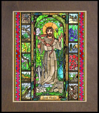 Wood Plaque Premium - St. Francis - Patron of Exotic Animals by B. Nippert