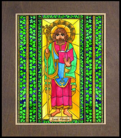Wood Plaque Premium - St. Finnian by B. Nippert