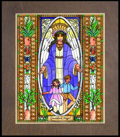 Wood Plaque Premium - Guardian Angel by B. Nippert