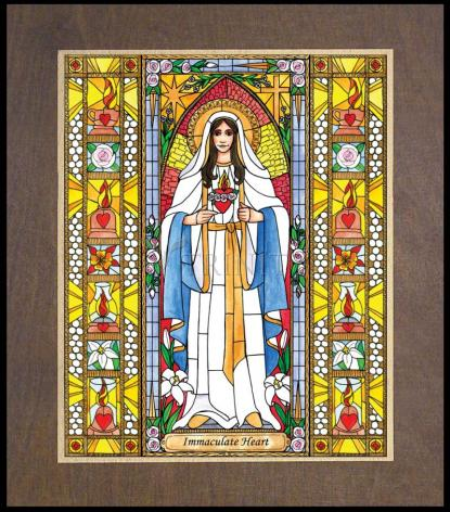 Wood Plaque Premium - Immaculate Heart of Mary by B. Nippert