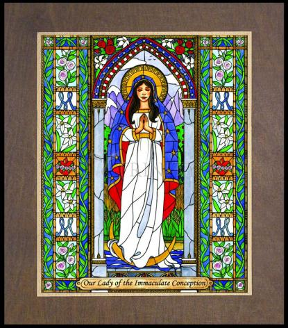 Wood Plaque Premium - Our Lady of the Immaculate Conception by B. Nippert