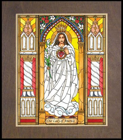 Wood Plaque Premium - Our Lady of America by B. Nippert