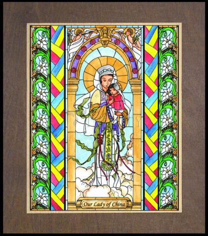 Wood Plaque Premium - Our Lady of China by B. Nippert