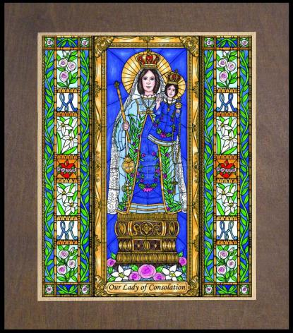 Wood Plaque Premium - Our Lady of Consolation by B. Nippert