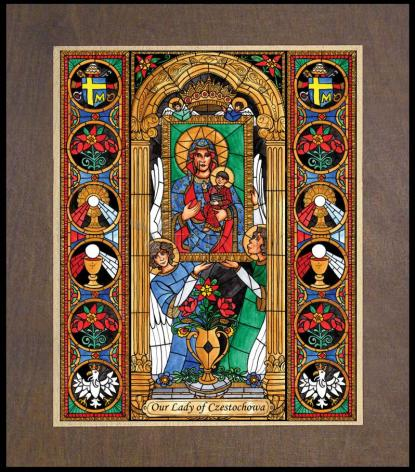 Wood Plaque Premium - Our Lady of Czestochowa by B. Nippert