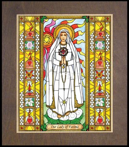 Wood Plaque Premium - Our Lady of Fatima by B. Nippert